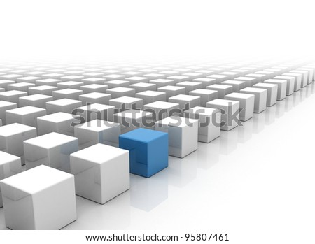 The right choice single blue box standing out - stock photo