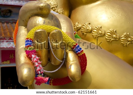The right hand of the Buddha.