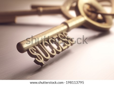 The right key to success. Depth of field in the word success, focusing on just the dollar sign. - stock photo