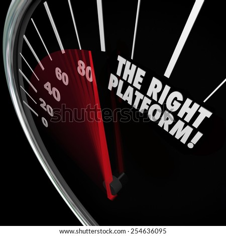 The Right Platform words on a speedometer to illustrate the best system or proces for managing your content and communicating your message or policies - stock photo