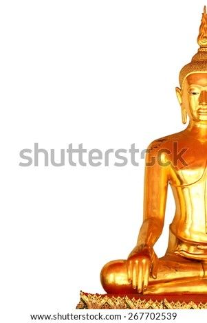 the right side meditation buddha statue in buddhist temple at bangkok, thailand, isolated on white background - stock photo