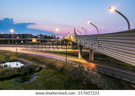 The ring road interchange in St. Petersburg at night illumination - stock photo