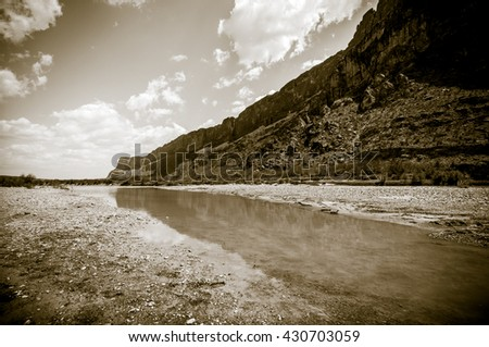The Rio Grande River looking east along the end of Santa Elena Canyon near the USA and Mexico International border - stock photo