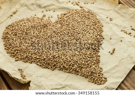 The ripe buckwheat seeds on the wrapping-paper