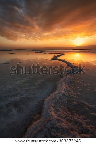 The Rise of the dead. The Dead sea, is a lake located in the border between Israel and Jordan.  Its surface and shores are 427 m below sea level making it the Earth's lowest elevation on land. - stock photo