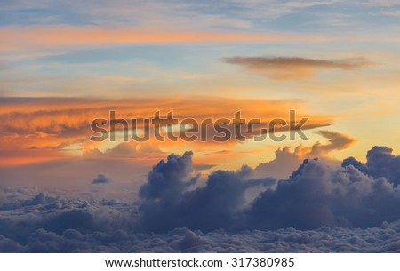 The rising of the sun. View from the slopes of Kilimanjaro - Tanzania, Africa - stock photo