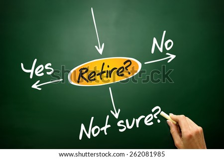 The risk to take the retirement, decide diagram, business concept on blackboard - stock photo