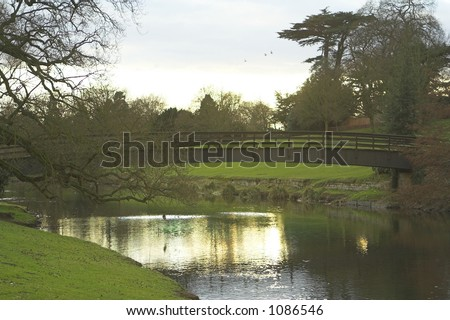 The river Avon on the grounds of Warwick Castle in Warwick, England - stock photo