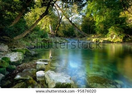 The river Ceou< Dordogne, France. - stock photo