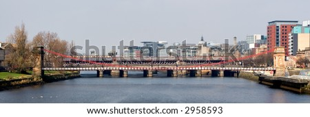 The River Clyde photographed from Victoria Bridge, Glasgow - stock photo