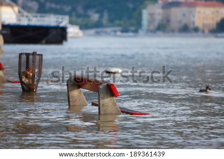 The river Danube flooding in Budapest - stock photo