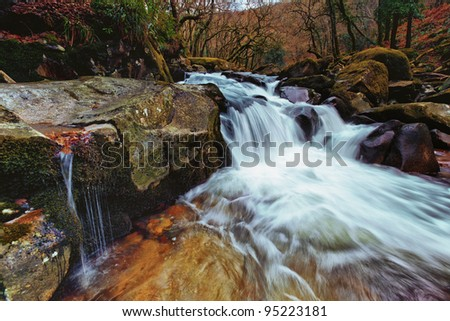 The River Dart, Dartmoor National Park, Devon, UK - stock photo