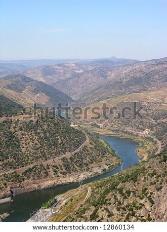 The river douro, in the Oporto wine vineyards region in North Portugal - stock photo