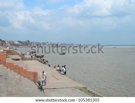 The river Ganges in the holy city of Varanasi, India - stock photo