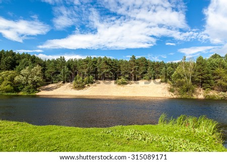 The river in a pine forest with a sandy beach. - stock photo