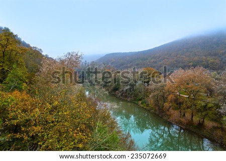 The river in the mountains in autumn - stock photo