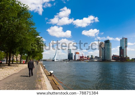 The river Maas in Rotterdam the Netherlands, Europe - stock photo
