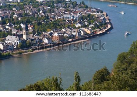 The river Rhine near Koblenz/Germany - stock photo