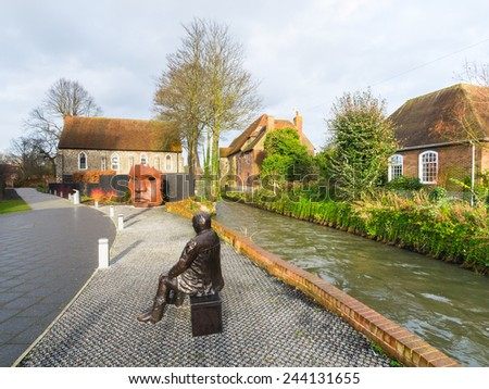 THE RIVER STOUR, CANTERBURY. Within the city the river flows in two channels, one through the centre of the city, and the other to the north of the city wills.  - stock photo