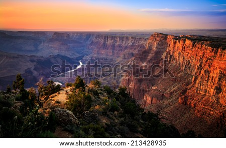 The River Through the Grand Canyon at Sunset, Grand Canyon National Park, Arizona - stock photo