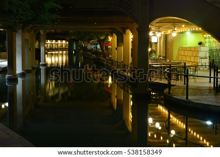 The River Walk at San Antonio in Texas at 4.00 in the morning in November.