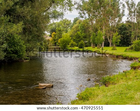 The river wye at Bakewell, Derbyshire, UK