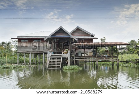 The riverfront house in Bangkok,Thailand - stock photo