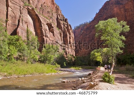 The Riverside Walk in Zion National Park is an easy and beautiful hike along the Virgin River. The 2 mile round trip begins at the Temple of Sinawava and ends where the Zion Narrows Trail begins. - stock photo