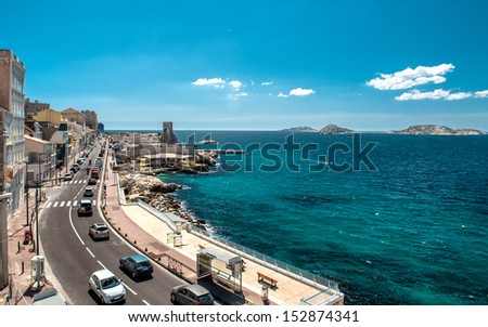 The road along the Plage des Catalans, Marseiile. France - stock photo