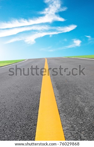the road and blue sky