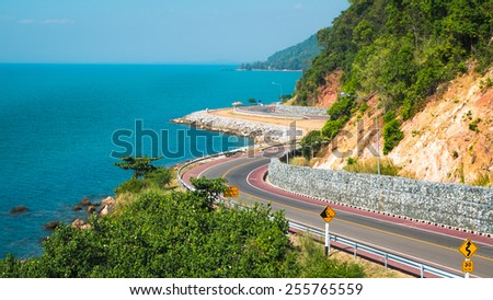 The road beside the sea - stock photo