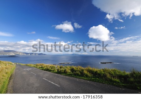 The road by ocean - stock photo