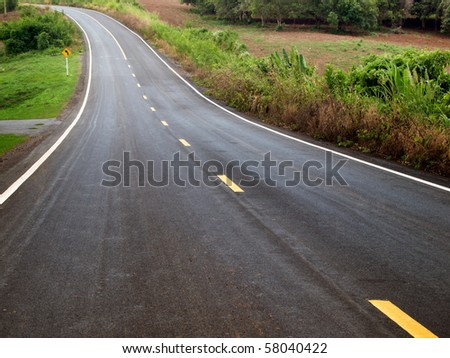 The road curves up the mountain
