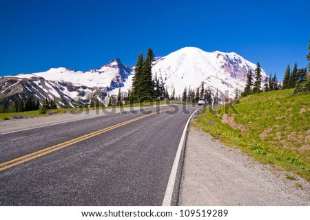 The Road Direction to Mt Rainer at Sunrise point in Mt Rainier National Park - stock photo