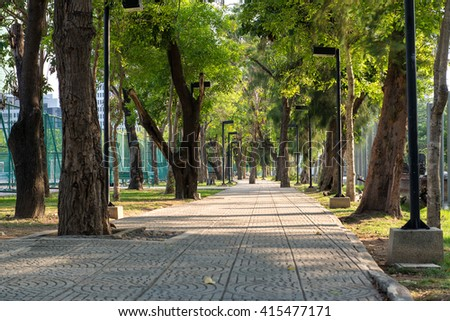 The road from the bricks in the Park - stock photo