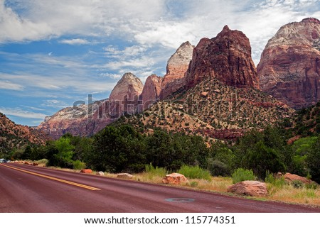 The road in Zion Canyon National Park, Utah - stock photo
