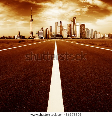 The road leading to big cities - stock photo