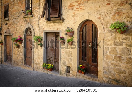 The road leading to the main square - Piazza dei Priori, Volterra Tuscany Italy - stock photo
