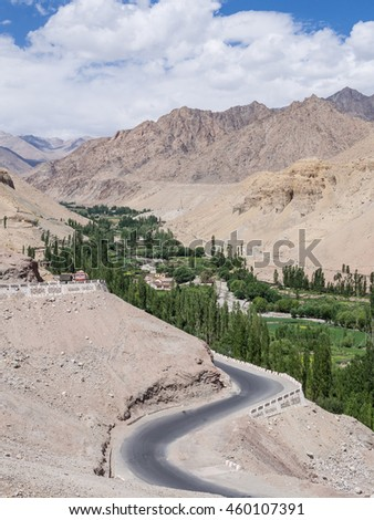 The road that was carved through the mountains and fantastic scenery in Leh Ladakh, India.