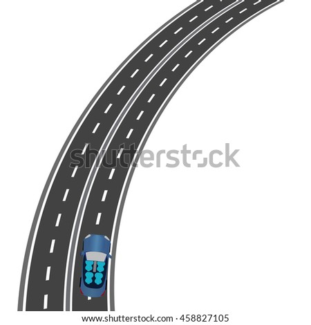 The road, the highway perspective. The car on the road. Raster illustration