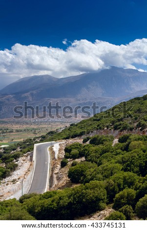 The road through the pass to the Lassithi Plateau. Crete - stock photo