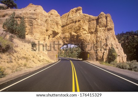 The road to Bryce Canyon National Park in Utah - stock photo