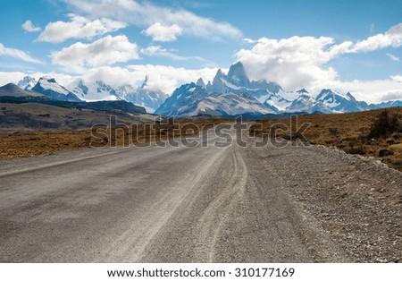 The road to El Chalten, Los Glaciares National Park, Santa cruz, Patagonia Argentina. Mount Fitz Roy massif and Cerro Torre range - stock photo