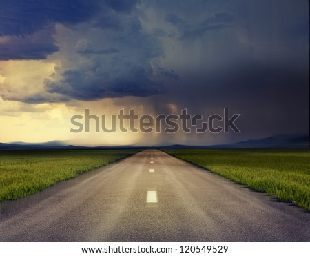 the road to storm ( photo compilation. The grain and texture added. ) - stock photo