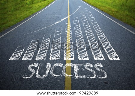 The road to success is not far - stock photo