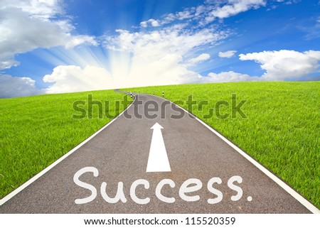 The road to success is not far and cloudy sky - stock photo