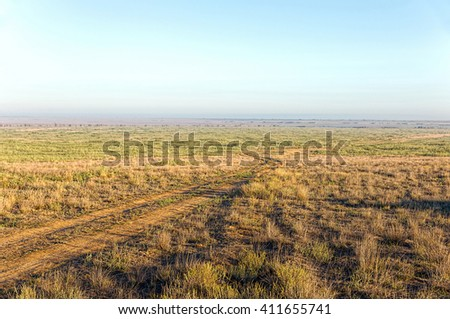 The road to the endless steppe - stock photo