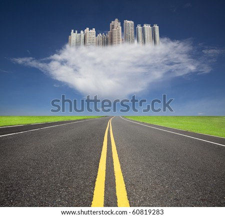 The road to the future city over the cloud - stock photo