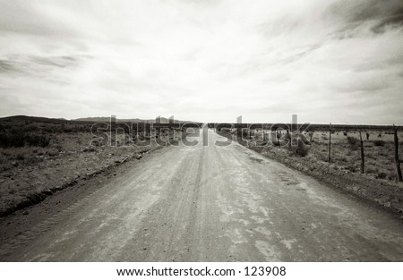 The Road to the Future : New Mexico -Virgin Galactic Spaceport access rd next to Ted Turner's Armendaris Ranch - stock photo