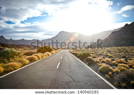 The road to the reserve Tenerife in sunrice, Canary islands, Spain - stock photo